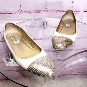Jimmy Choo Gold Cap Toe Leather Flats